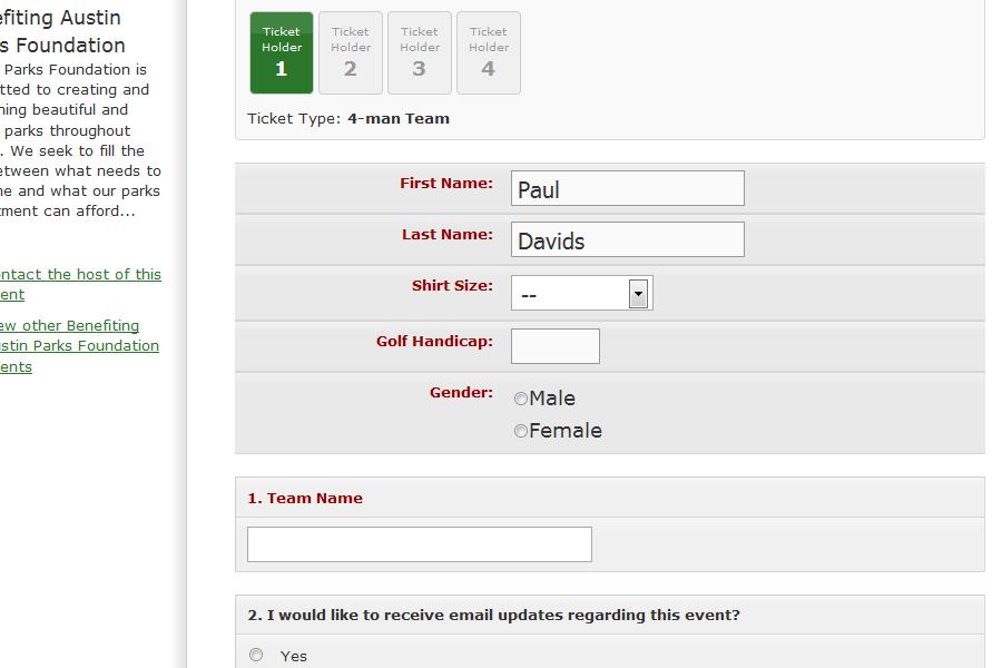 Sample Registration Form Event